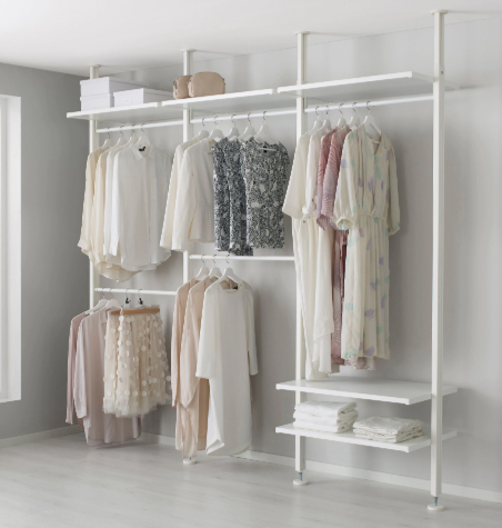 ELVARLI storage system, $282 at Ikea - Bamboo shelves and a clean white look. This unit attaches to the ceiling so it doesn't necessarily need to be placed against a wall.