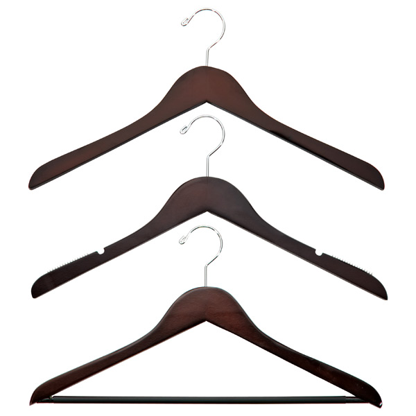 Petite Basic Walnut Wooden Hangars, $7/pkg at The Container Store - Wooden hangars look elegant. They are a great choice if space is not an issue.
