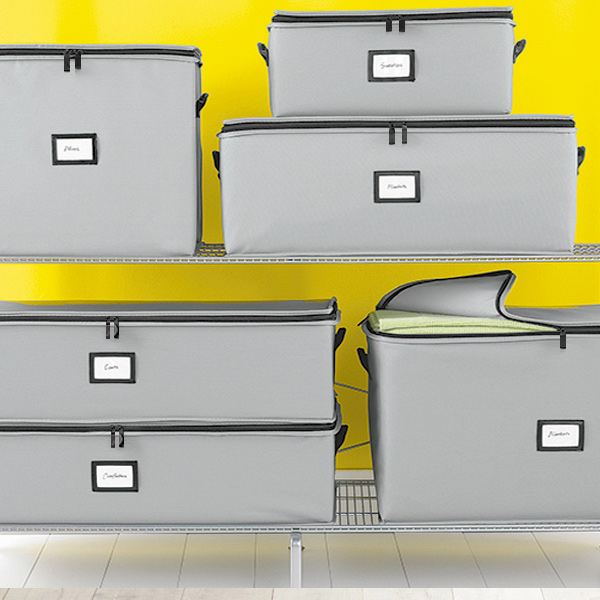 Grey Storage Bags, $10 at The Container Store - We love these zippered, labeled storage bags to hide away in a closet or the attic!