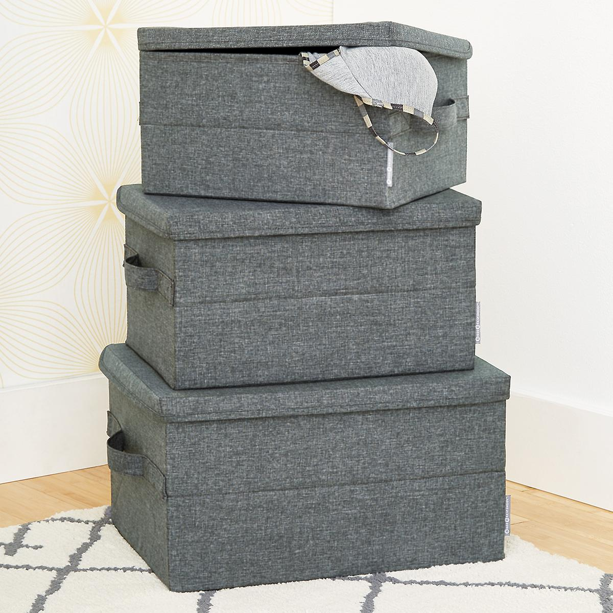 Bigso Grey Soft Storage Boxes with Handles, $13+ at The Container Store - These grey fabric boxes are pretty enough for your closet shelf or anywhere else visible in your home!