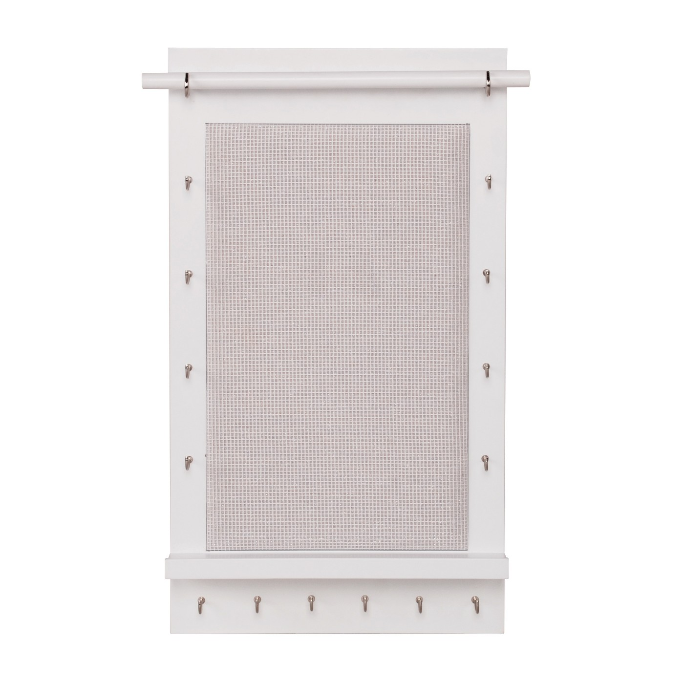 Charlotte Wall Mounted Jewelry Organizer, $20 at Target - A cute white hanger for necklaces, bracelets, and hook earrings (they go on the center mesh).
