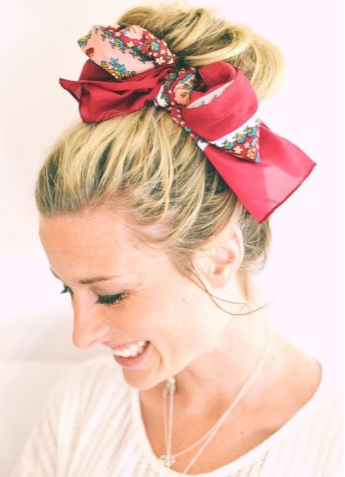 how-to-style-hair-accessories-scarf-scarves-bandana-silk-red-ways-to-wear-blond-bun.jpg