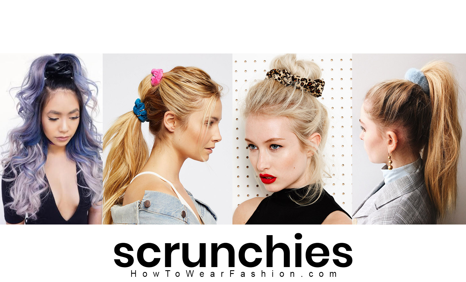 Scrunchies are B-A-C-K! Have fun with scrunchies in different colors, prints and textures. Definitely coordinate the color of your scrunchie with your outfit - match or complement a color in your clothes, or use a scrunchie in a color similar to your hair color.