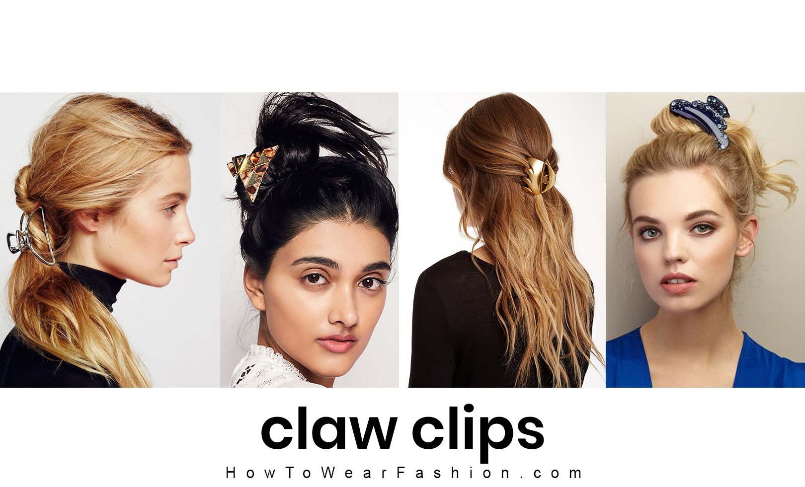 Claw clips have made a comeback - even mini ones! See how to wear the cute claw clip hair trend here! Use claw clips to hold twists or buns, accent an updo, or to make a half up look. It's easy to throw your hair up in one of these looks for everyday.