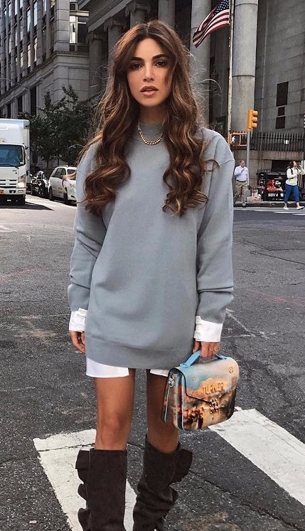 white-dress-shirt-grayl-sweater-layer-hairr-brown-shoe-boots-fall-winter-thanksgiving-outfits-holidays-lunch.jpg
