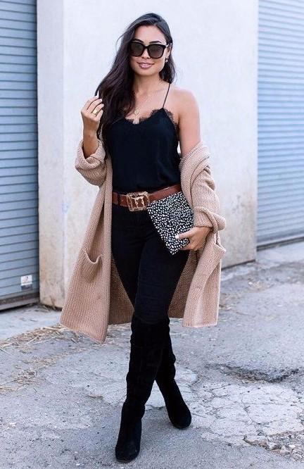 black-skinny-jeans-belt-tan-cardiganl-brun-sun-black-shoe-boots-otk-black-cami-fall-winter-thanksgiving-outfits-holidays-lunch.jpg