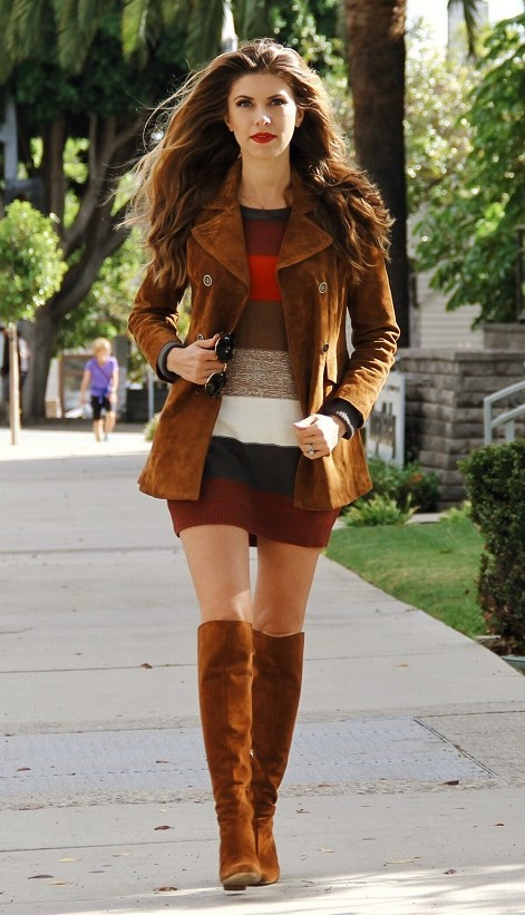 brown-dress-sweater-stripe-camel-jacket-coat-suede-cognac-shoe-boots-hairr-fall-winter-thanksgiving-outfits-holidays-lunch.jpg