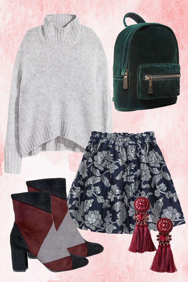blue-navy-mini-skirt-brocade-earrings-green-bag-pack-grayl-sweater-turtleneck-burgundy-shoe-booties-colorblock-fall-winter-thanksgiving-outfits-dinner.jpg