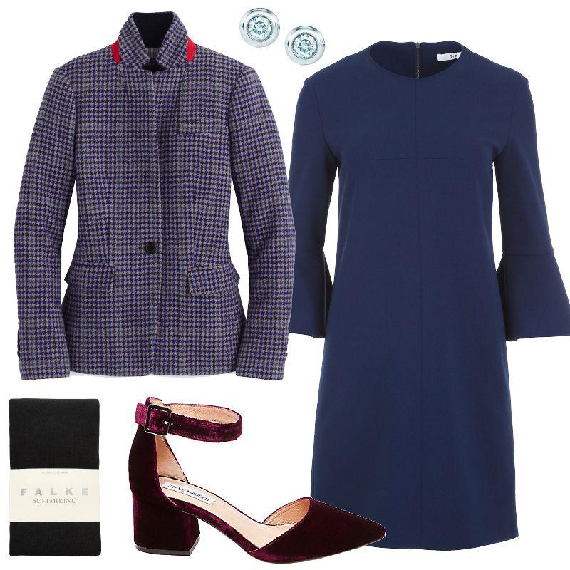 blue-navy-dress-shift-plaid-grayl-jacket-blazer-studs-black-tights-burgundy-shoe-pumps-fall-winter-thanksgiving-outfits-dinner.jpg