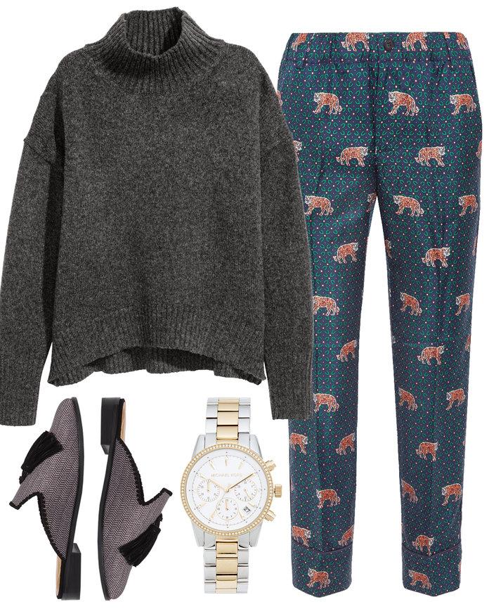 blue-navy-slim-pants-print-grayd-sweater-turtleneck-gray-shoe-flats-mules-watch-fall-winter-thanksgiving-outfits-dinner.jpg