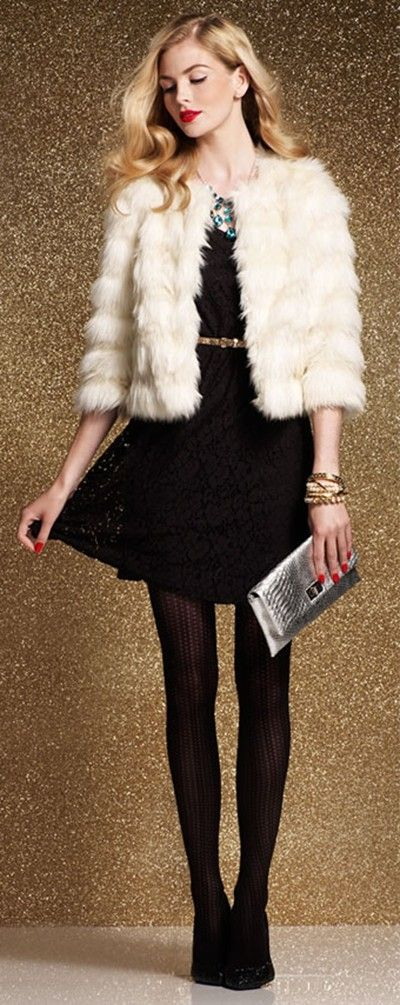 black-dress-mini-white-jacket-coat-fur-blonde-black-tights-bib-necklace-gray-bag-clutch-fall-winter-nye-party-dinner.jpg