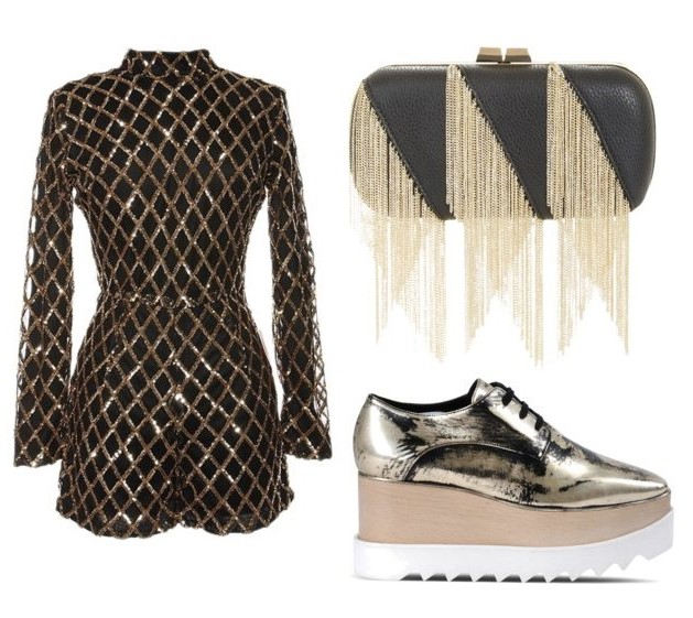 black-jumper-romper-gray-shoe-brogues-silver-metallic-black-bag-clutch-fall-winter-nye-gold-party-dinner.jpg