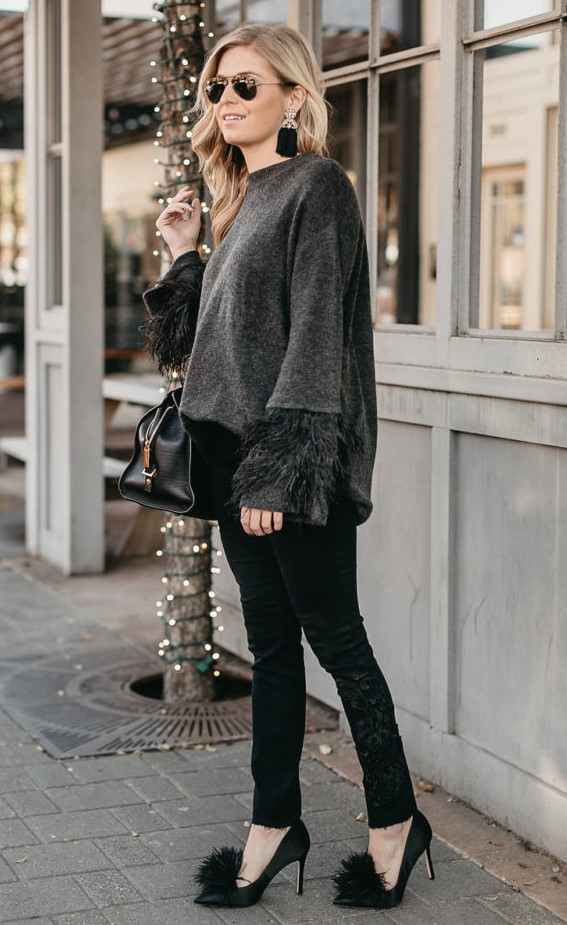 black-skinny-jeans-grayd-sweater-earrings-blonde-black-bag-black-shoe-pumps-sun-fall-winter-nye-dinner.jpg