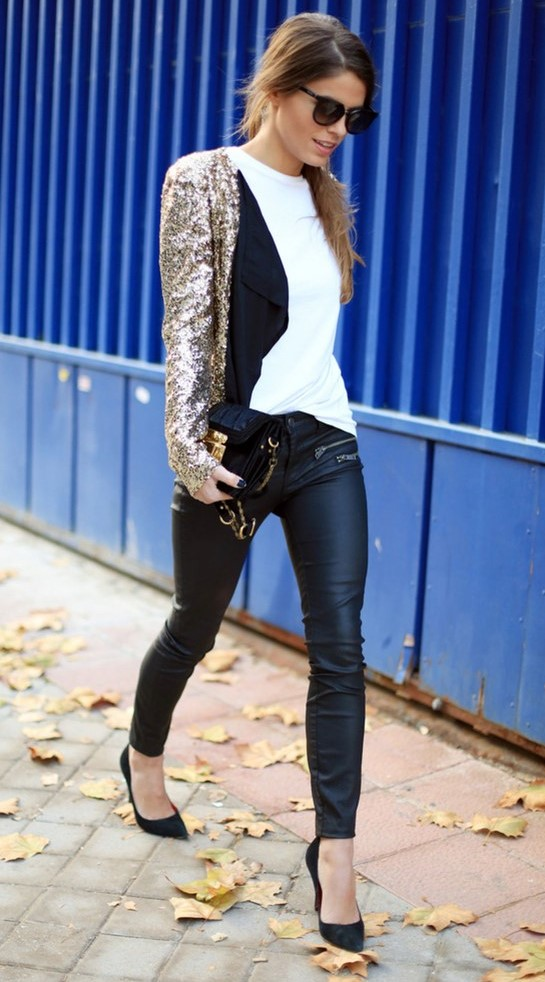 black-skinny-jeans-white-tee-tan-jacket-blazer-gold-sequin-hairr-pony-sun-black-bag-black-shoe-pumps-fall-winter-nye-dinner.jpg