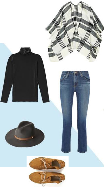 blue-med-crop-jeans-black-sweater-turtleneck-white-cardiganl-cape-poncho-plaid-hat-tan-shoe-booties-fall-thanksgiving-lunch.jpg