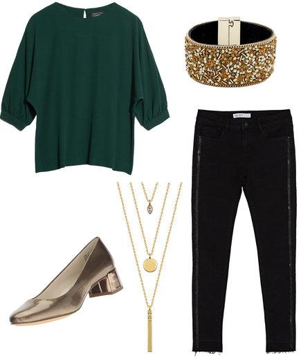 thanksgiving-green-dark-top-blouse-necklace-bracelet-tan-shoe-pumps-gold-black-joggers-pants-fall-winter-dinner.jpg