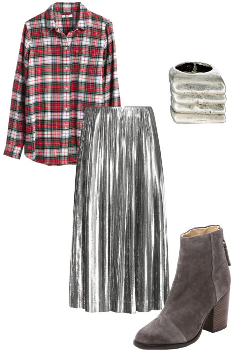 grayl-midi-skirt-red-plaid-shirt-gray-shoe-booties-ring-pleat-metallic-howtowear-fashion-style-outfit-fall-winter-holiday-lunch.jpg