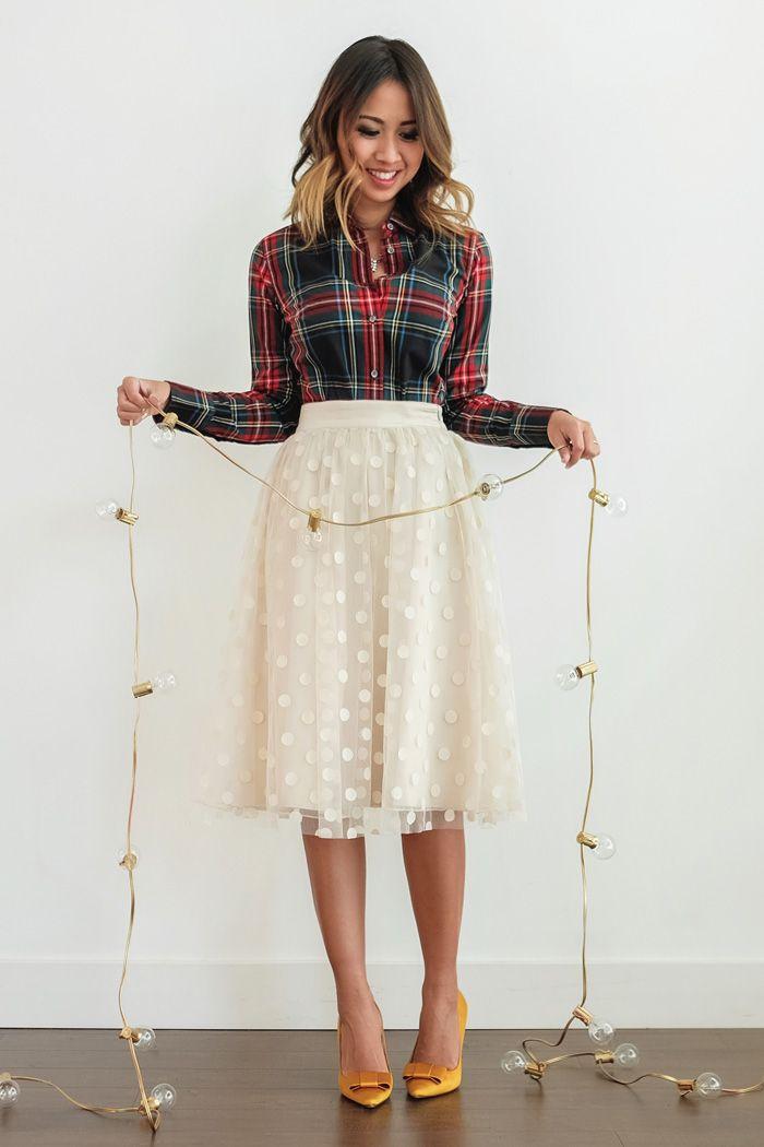 white-aline-skirt-holiday-red-plaid-shirt-yellow-shoe-pumps-hairr-fall-winter-dinner.jpg