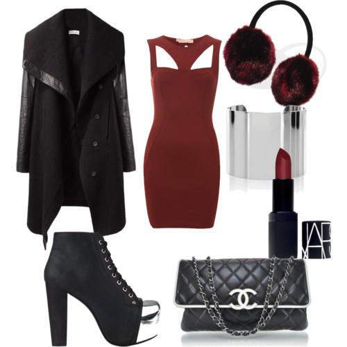 r-burgundy-dress-black-jacket-coat-black-shoe-booties-black-bag-howtowear-fashion-style-outfit-fall-winter-bodycon-bandage-basic-earmuffs-holidays-dinner.jpeg