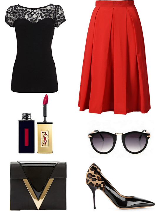 red-midi-skirt-black-top-pleat-howtowear-fashion-style-outfit-fall-winter-pleat-leopard-tan-shoe-pumps-lace-holidays-black-bag-clutch-sun-christmas-dinner.jpg