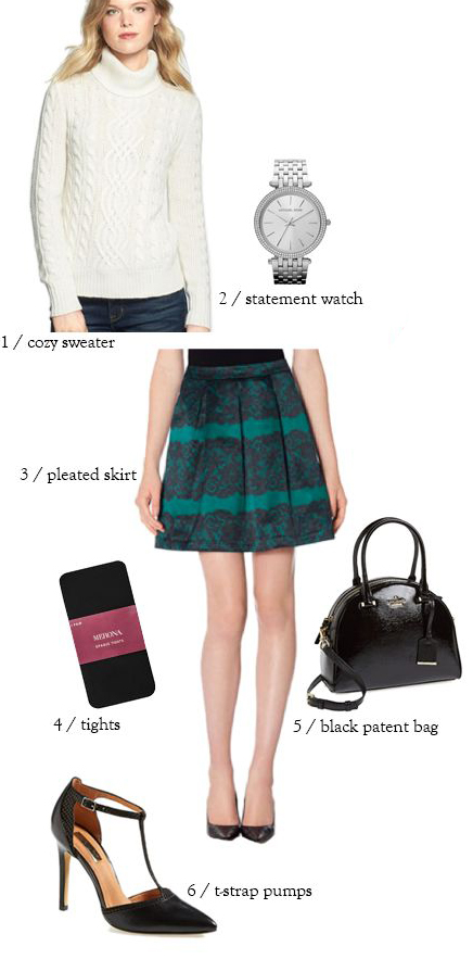 green-emerald-mini-skirt-white-sweater-print-turtleneck-black-tights-black-shoe-pumps-black-bag-watch-howtowear-fashion-style-outfit-fall-winter-holiday-dinner.jpg