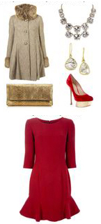 red-dress-aline-tan-jacket-coat-tan-bag-clutch-metallic-necklace-red-shoe-pumps-jewel-earrings-howtowear-fashion-style-outfit-fall-winter-holiday-dinner.jpg