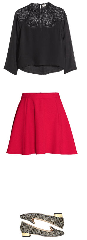red-mini-skirt-black-top-blouse-black-shoe-flats-howtowear-fashion-style-outfit-fall-winter-holiday-christmas-dinner.jpg