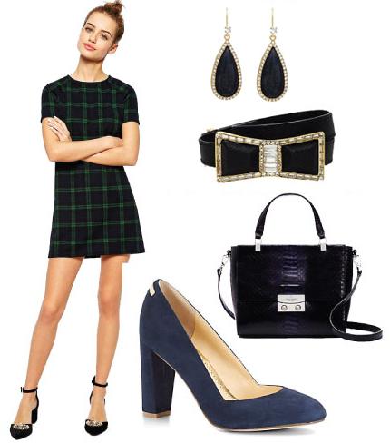 green-dark-dress-mini-plaid-belt-earrings-blue-bag-blue-shoe-pumps-howtowear-fashion-style-outfit-fall-winter-holiday-dinner.jpg