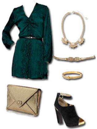 green-dark-dress-mini-belt-bib-necklace-bracelet-tan-bag-black-shoe-booties-howtowear-fashion-style-outfit-fall-winter-holiday-dinner.jpg
