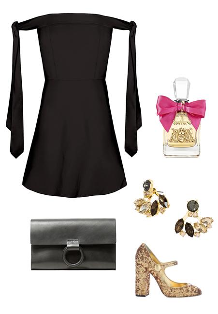 black-dress-mini-offshoulder-tan-shoe-pumps-metallic-studs-black-bag-clutch-howtowear-fashion-style-outfit-fall-winter-holiday-dinner.jpg