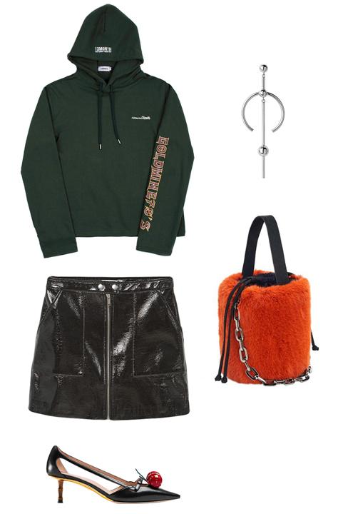 black-mini-skirt-green-dark-sweater-sweatshirt-hoodie-orange-bag-black-shoe-pumps-leather-howtowear-fashion-style-outfit-fall-winter-holiday-dinner.jpg