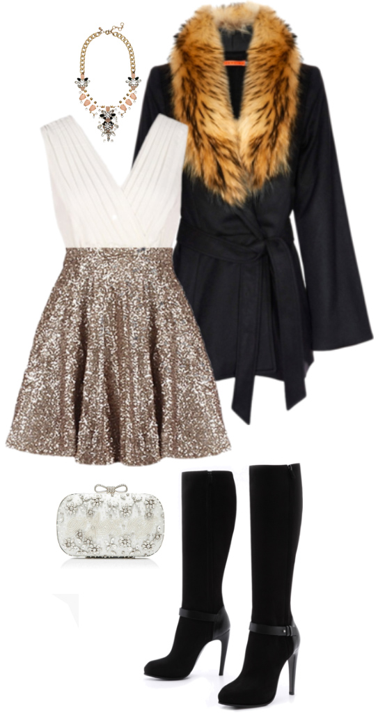o-tan-mini-skirt-sequin-pleat-white-top-bodysuit-bib-necklace-black-shoe-boots-white-bag-clutch-black-jacket-coat-howtowear-fashion-style-outfit-fall-winter-holiday-dinner.jpg