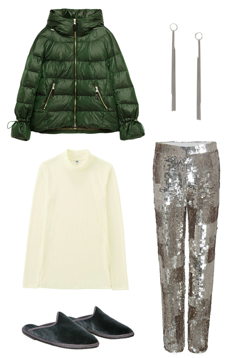 grayl-slim-pants-sequin-white-tee-turtleneck-green-dark-jacket-puffer-green-shoe-slippers-earrings-howtowear-fashion-style-outfit-fall-winter-holiday-dinner.jpg