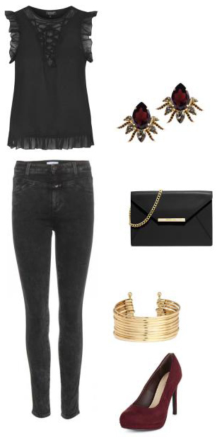 black-skinny-jeans-black-top-ruffle-black-bag-burgundy-shoe-pumps-bracelet-studs-howtowear-fashion-style-outfit-fall-winter-holiday-dinner.jpg