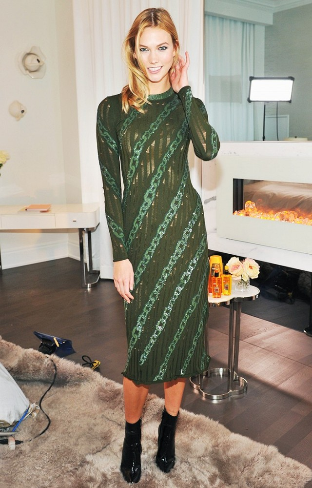 green-olive-dress-midi-bodycon-green-shoe-booties-blonde-karliekloss-howtowear-fashion-style-outfit-fall-winter-holiday-dinner.jpg