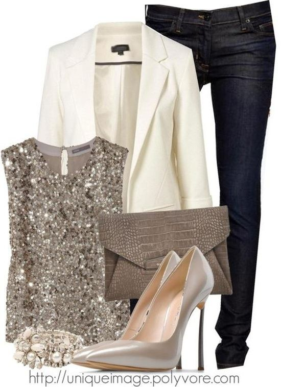 blue-navy-skinny-jeans-o-tan-top-sequin-white-jacket-blazer-tan-shoe-pumps-bracelet-tan-bag-clutch-howtowear-fashion-style-outfit-fall-winter-holiday-dinner.jpg