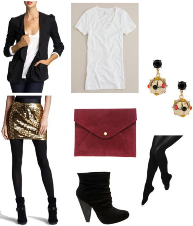 o-tan-mini-skirt-white-tee-black-jacket-blazer-sequin-black-tights-black-shoe-booties-earrings-red-bag-clutch-howtowear-fashion-style-outfit-fall-winter-holiday-dinner.jpg