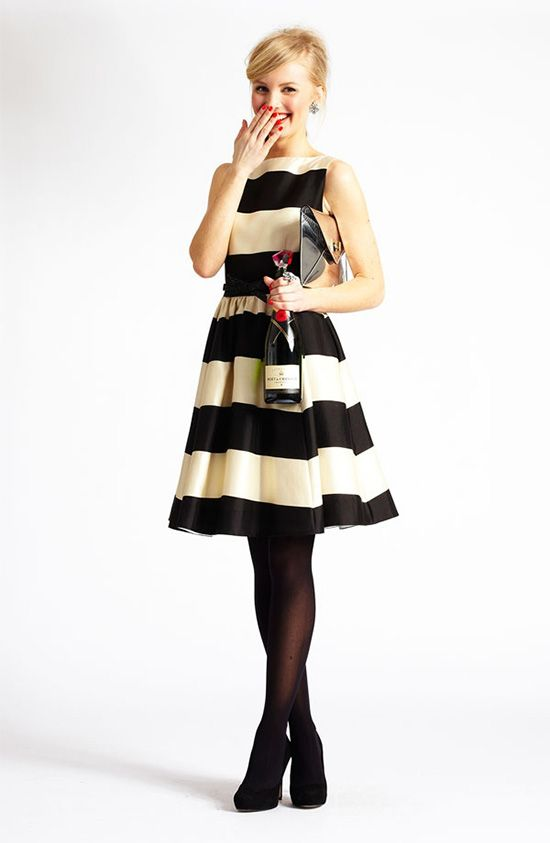 black-dress-stripe-aline-bold-black-tights-nail-blonde-bun-gray-bag-clutch-metallice-party-studs-black-shoe-pumps-howtowear-fashion-style-outfit-fall-winter-holiday-dinner.jpg