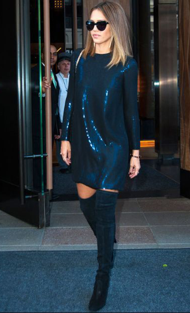 blue-navy-dress-mini-sequin-black-shoe-boots-sun-hairr-jessicaalba-howtowear-fashion-style-outfit-fall-winter-holiday-newyearseve-party-dinner.jpg