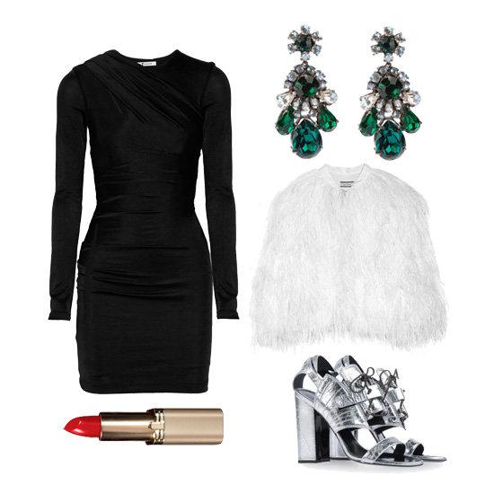 black-dress-mini-lbd-white-jacket-coat-fur-fuzz-jewel-earrings-gray-shoe-sandalh-howtowear-fashion-style-outfit-fall-winter-holiday-dinner.jpeg