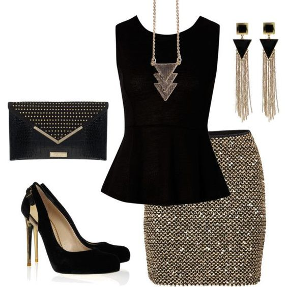 o-tan-mini-skirt-black-top-peplum-necklace-pend-earrings-black-shoe-pumps-black-bag-clutch-gold-metallic-sequin-howtowear-fashion-style-outfit-fall-winter-holiday-dinner.jpg