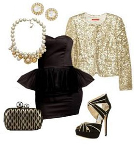 black-dress-mini-tan-jacket-sequin-bib-necklace-studs-tan-bag-clutch-black-shoe-sandalh-strapless-howtowear-fashion-style-outfit-fall-winter-holiday-pearl-dinner.jpg