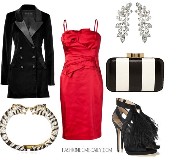 red-dress-bodycon-black-jacket-coat-black-shoe-sandalh-black-bag-clutch-stripe-bracelet-earrings-silk-blacktieholidayparty-howtowear-fashion-style-outfit-fall-winter-holiday-dinner.jpg