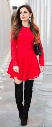 red-dress-mini-black-shoe-boots-black-bag-earrings-hairr-howtowear-fashion-style-outfit-fall-winter-holiday-party-dinner.jpg