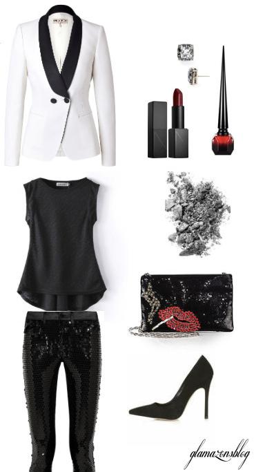 black-slim-pants-black-tee-white-jacket-blazer-tuxedo-sequin-black-shoe-pumps-black-bag-studs-howtowear-fashion-style-outfit-fall-winter-holiday-dinner.jpg