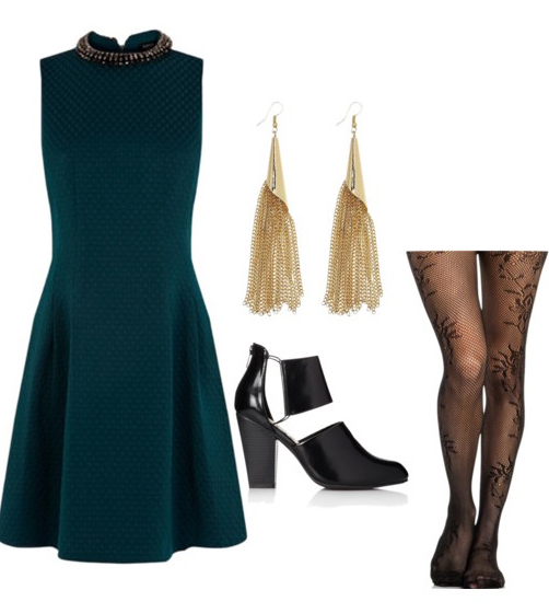 green-dark-dress-aline-earrings-black-tights-black-shoe-booties-officeparty-howtowear-fashion-style-outfit-fall-winter-holiday-dinner.jpg