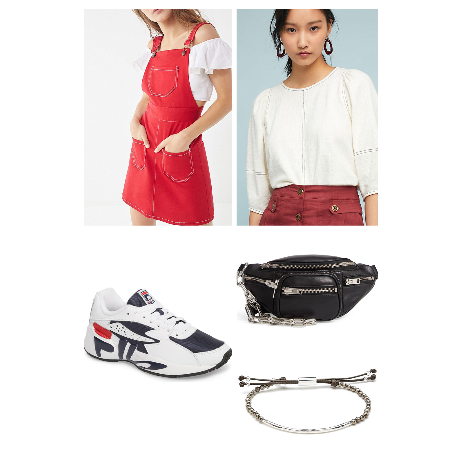 Fall weekend casual outfit idea - red jumper dress, white blouse, white & black sneakers, belt bag, and bead bracelet!