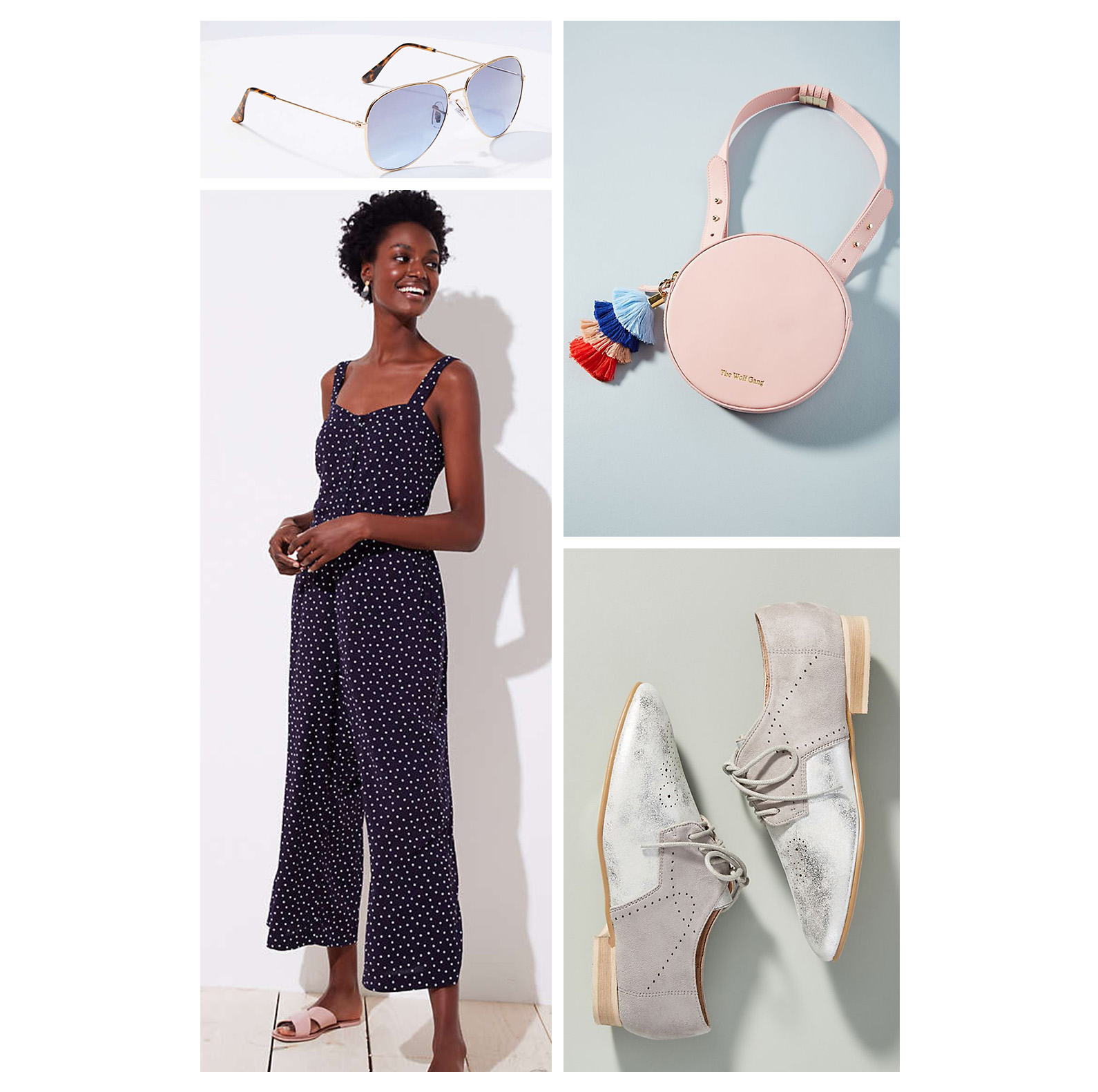 Fall weekend casual outfit idea - navy blue polka dot jumpsuit, silver brogues, aviator sunglasses, and pink circle belt bag!