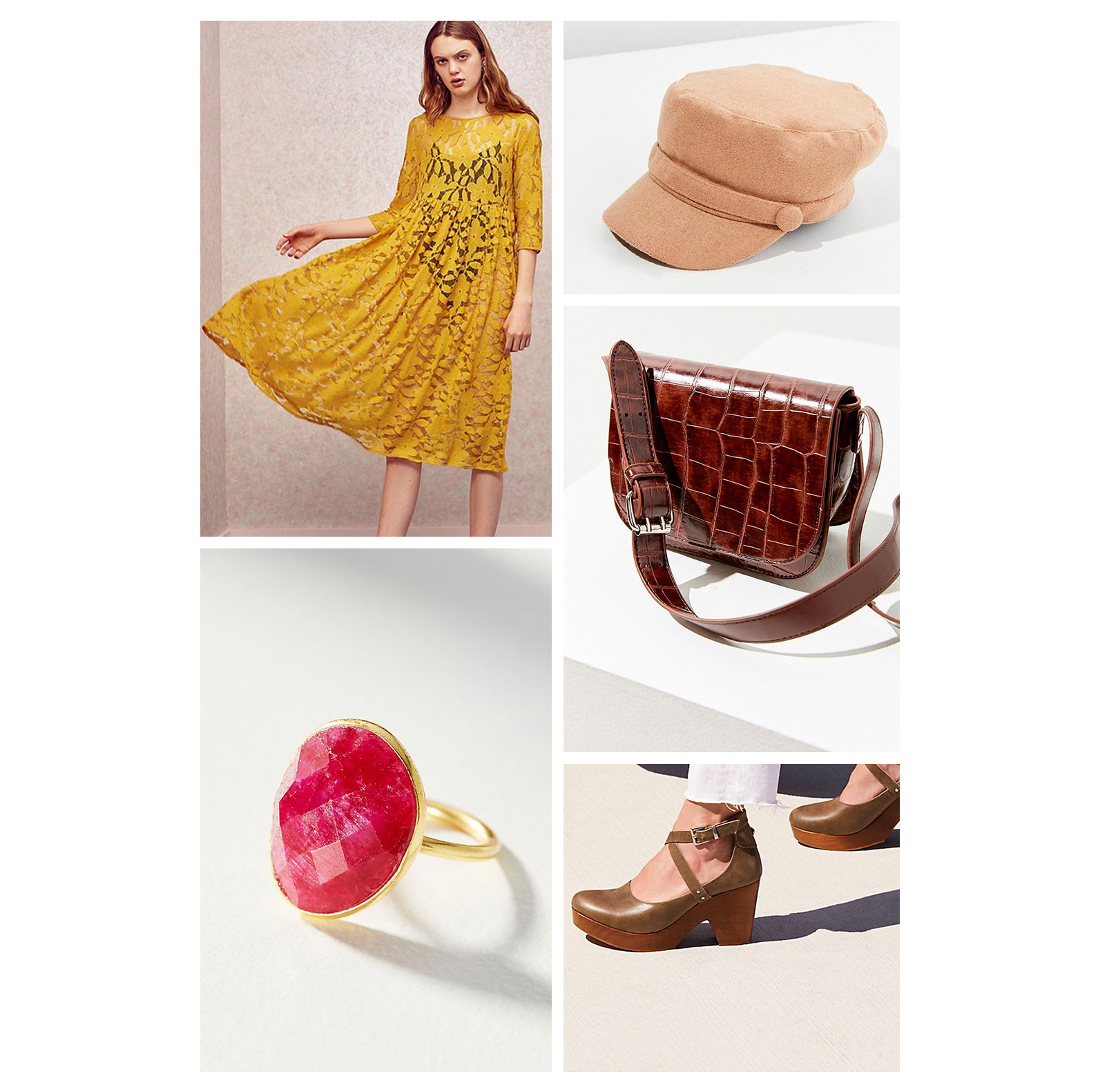 Fall lunch outfit idea - wear a yellow lace midi dress, brown leather bag, newsboy cap, red stone ring, and cute clogs!