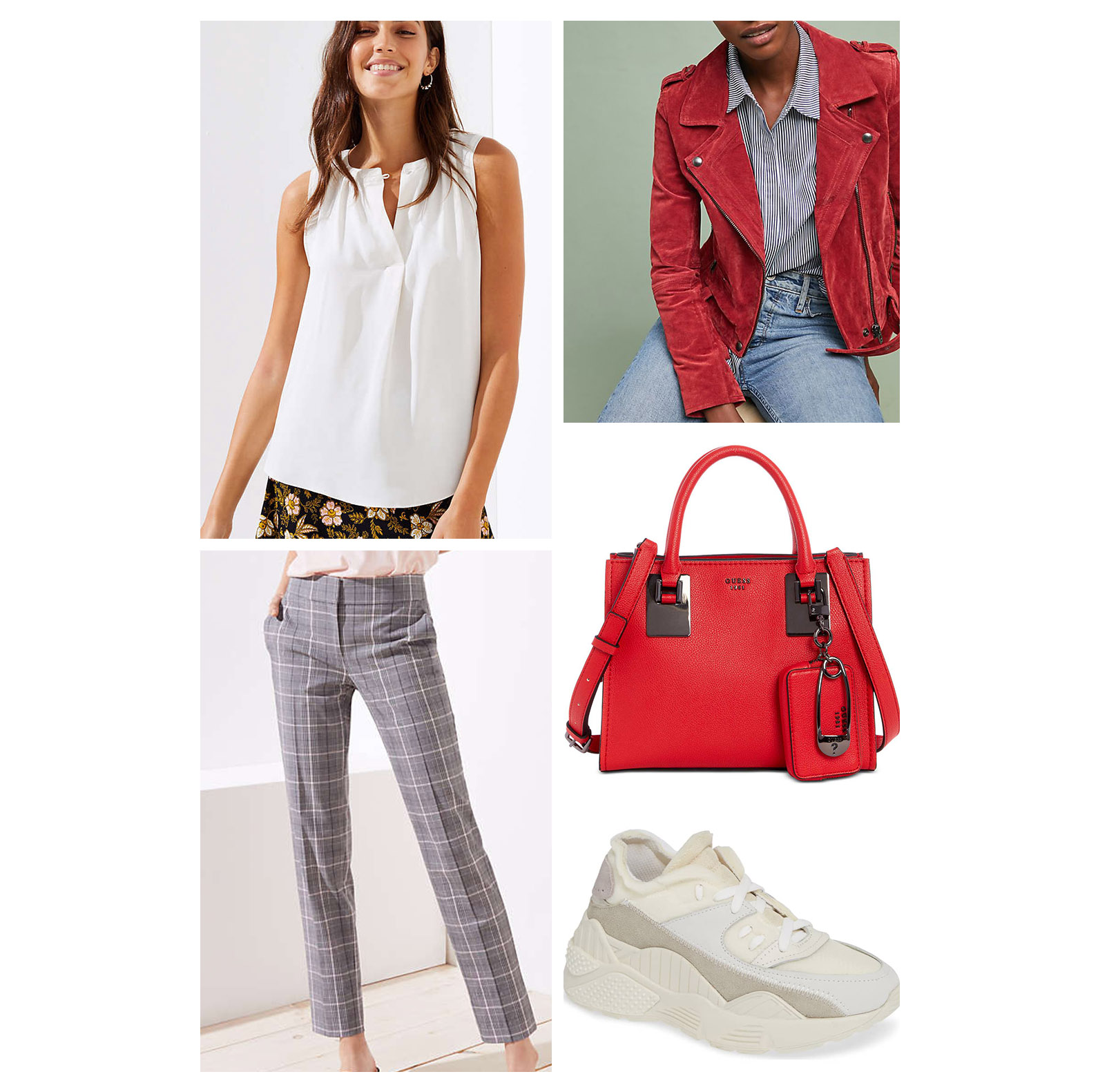 Fall lunch outfit idea - wear gray plaid pants, a white blouse, red suede moto jacket, white dad sneakers, and a red handbag!